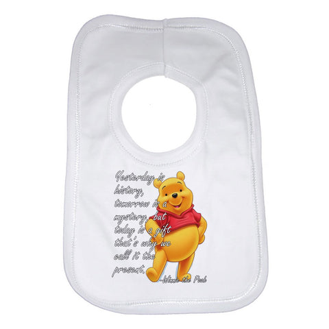 Yesterday Is History Winnie The Pooh Beautiful Quotation Baby Bib