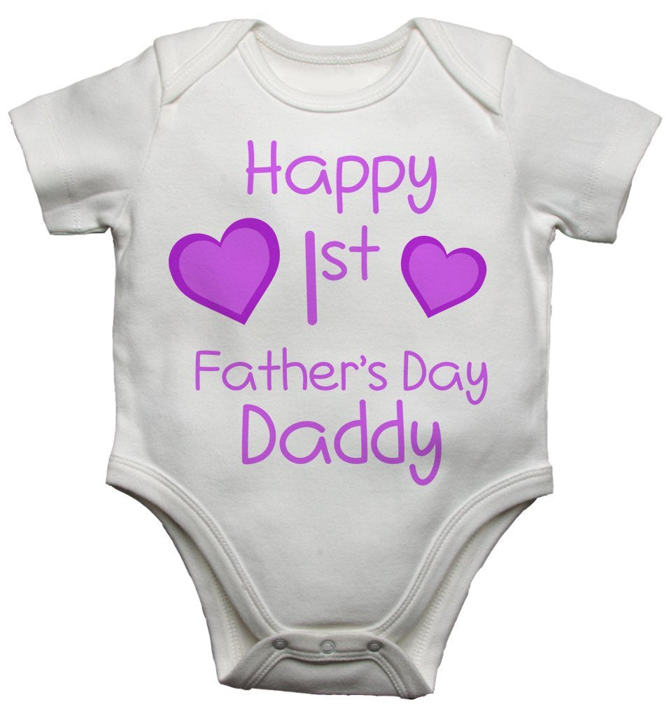 Happy 1st First Fathers Day Daddy Girls Baby Vest With Card
