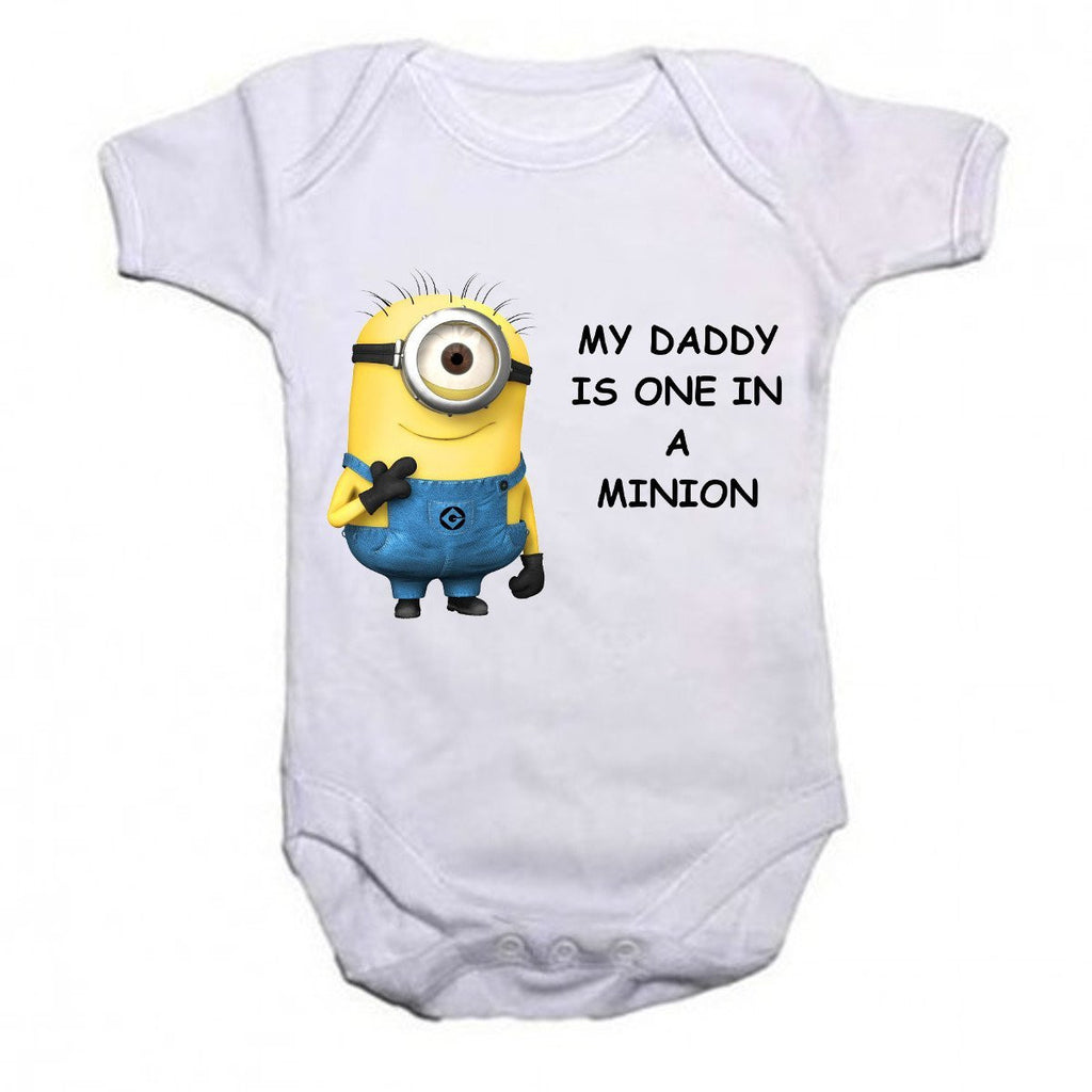 My Daddy Is One In A Minion Baby Vests Bodysuits