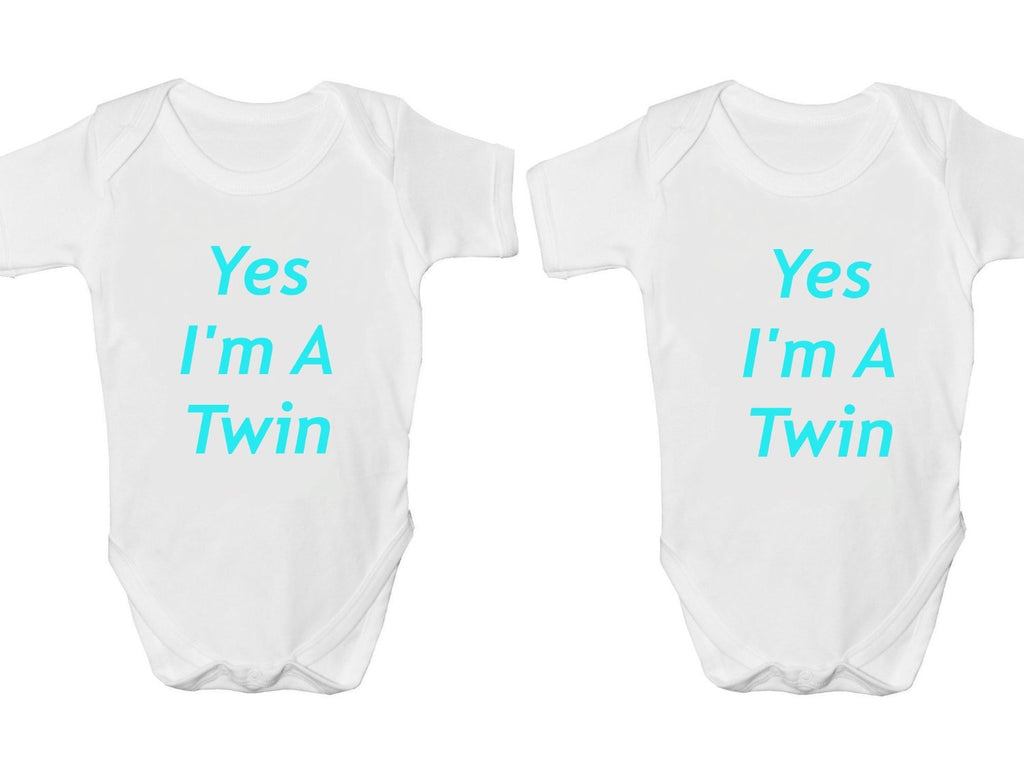 Yes I Am A Twin Twin Pack Baby Vests Bodysuits