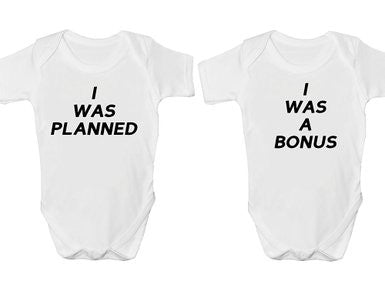 I Was Planned I Was A Bonus Twin Pack Baby Vests Bodysuits