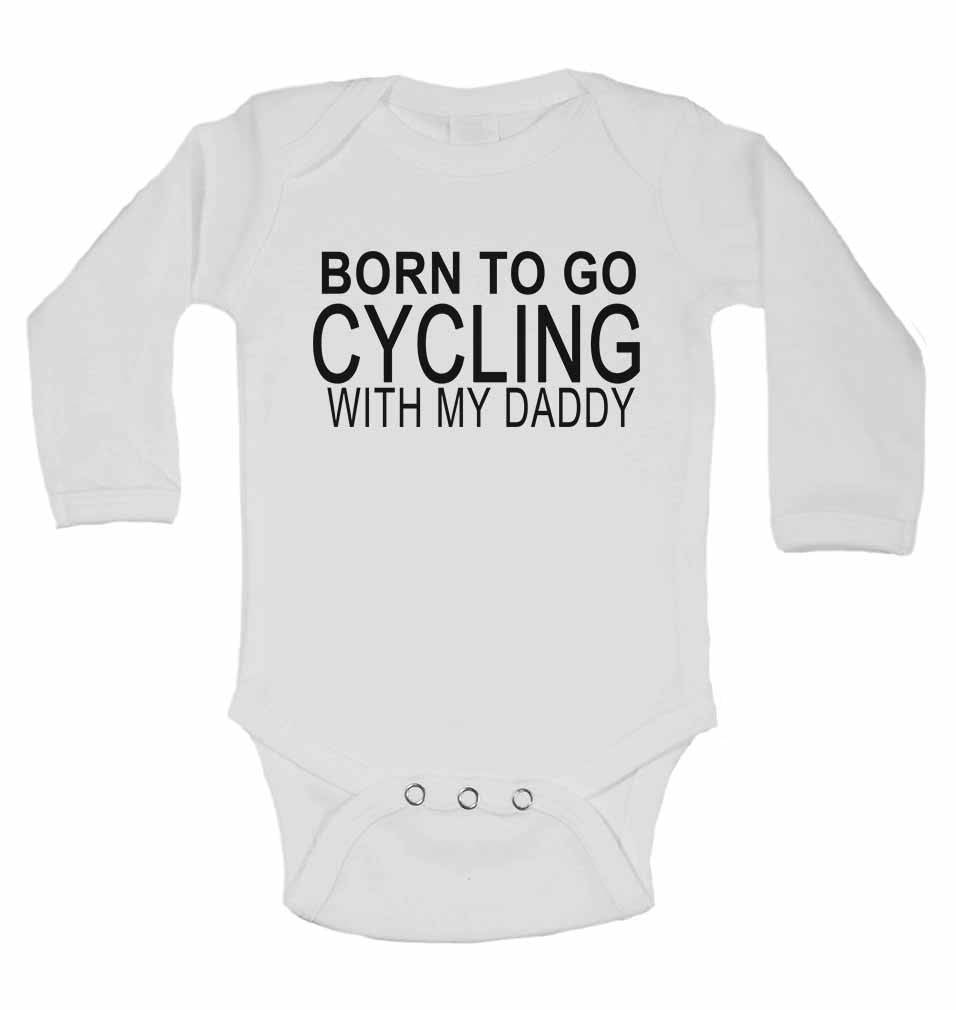 Born to Go Cycling with My Daddy - Long Sleeve Baby Vests for Boys & Girls