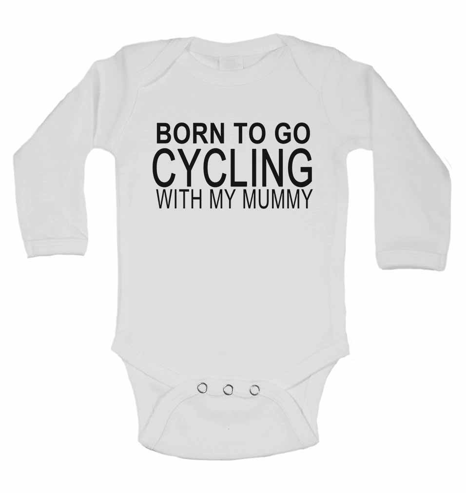 Born to Go Cycling with My Mummy - Long Sleeve Baby Vests for Boys & Girls
