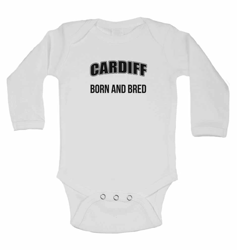 Cardiff Born and Bred - Long Sleeve Baby Vests for Boys & Girls