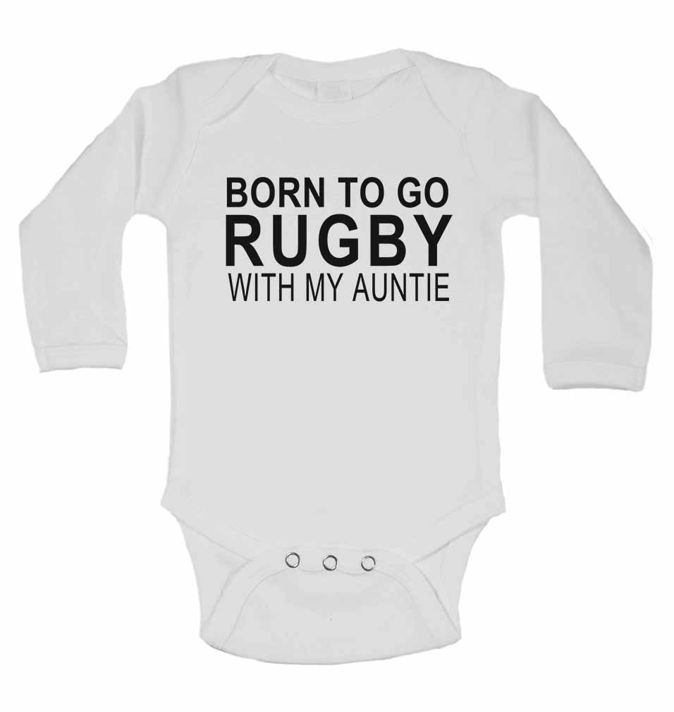 Born to Go Rugby with My Auntie - Long Sleeve Baby Vests for Boys & Girls