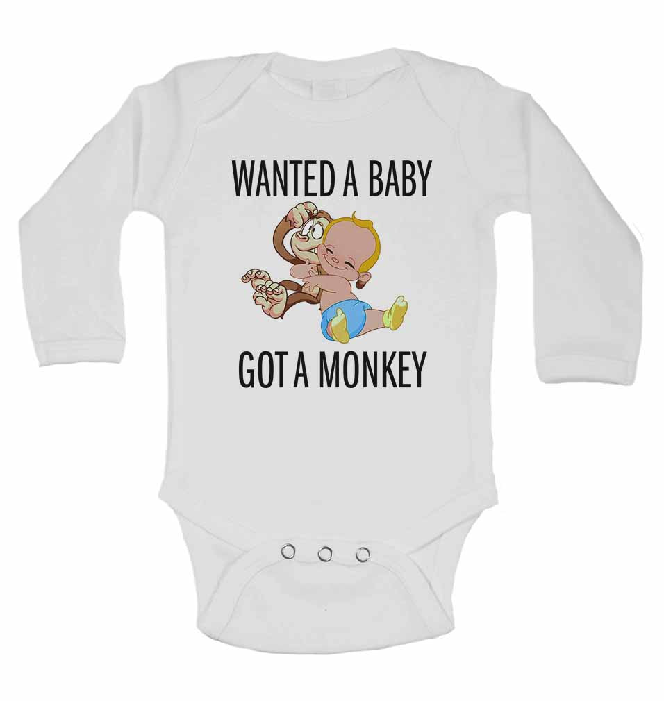 Wanted a Baby Got a Monkey - Long Sleeve Baby Vests