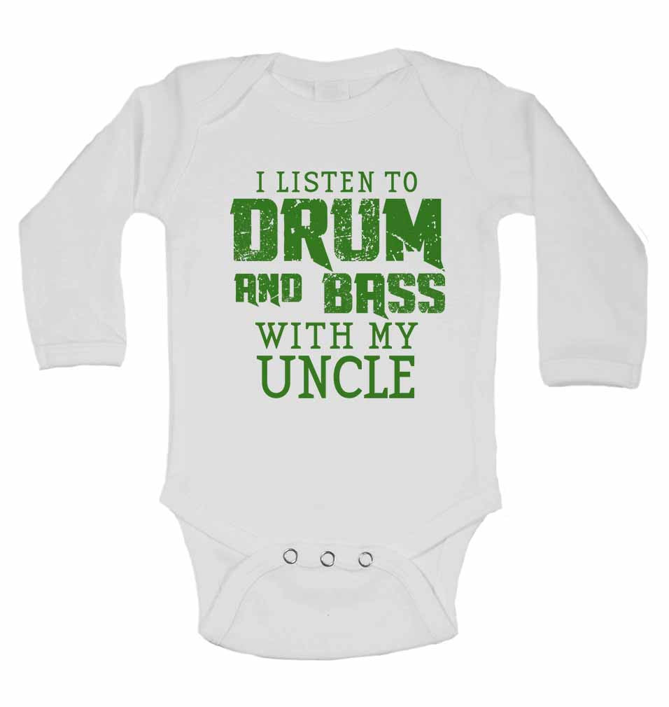 I Listen to Drum & Bass With My Uncle - Long Sleeve Baby Vests for Boys & Girls