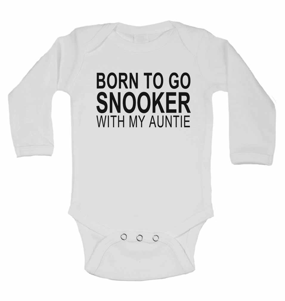 Born to Go Snooker with My Auntie - Long Sleeve Baby Vests for Boys & Girls