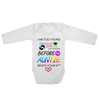 Baby Long Sleeved Vest Bodysuit Grow I Am Too Young For Mask For Newborn Gift
