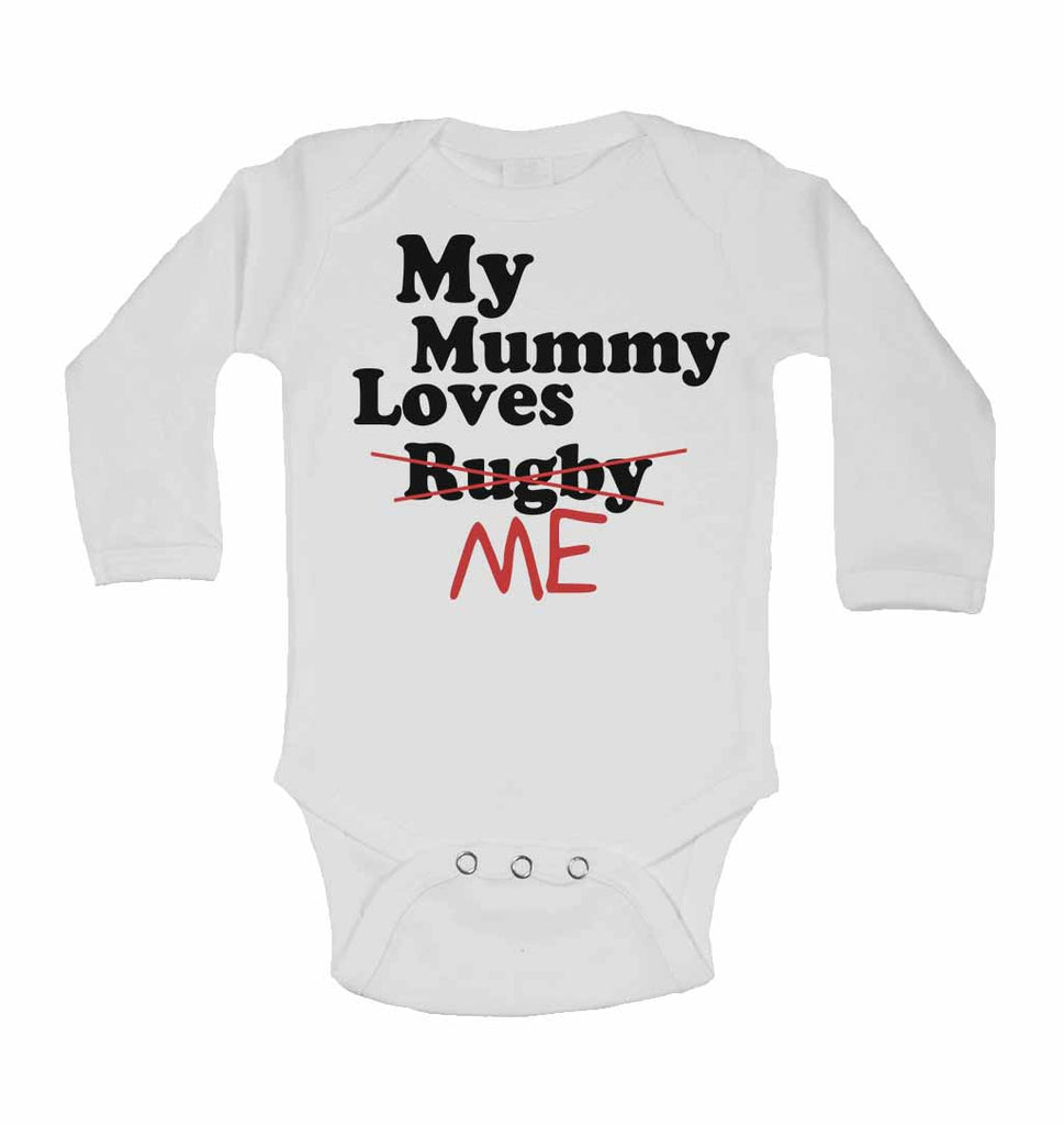 My Mummy Loves Me not Rugby - Long Sleeve Baby Vests