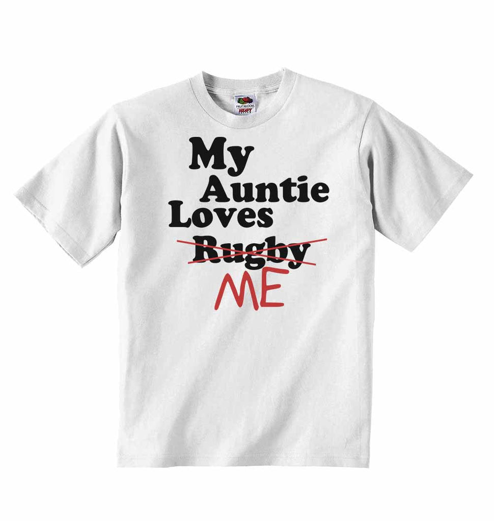 My Auntie Loves Me not Rugby - Baby T-shirts