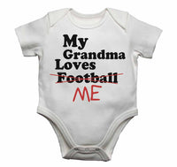 My Grandma Loves Me not Football - Baby Vests