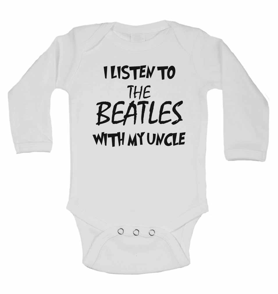 I Listen to the Beatles (English Rock Band) With My Uncle - Long Sleeve Baby Vests