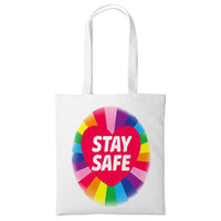 Cotton Rainbow Tote Bag Stay Safe Travel Shopping Beach Fashion Family Gift