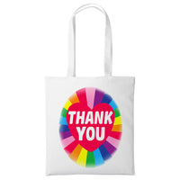 Cotton Rainbow Tote Bag Thank You Travel Shopping Beach Fashion Family Gift
