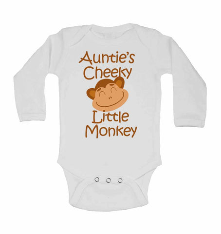 Auntie's Cheeky Little Monkey - Long Sleeve Baby Vests
