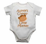 Auntie's Cheeky Little Monkey - Baby Vests Bodysuits for Boys, Girls