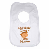 Grandad's Cheeky Little Monkey Baby Bibs