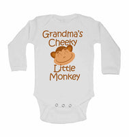 Grandma's Cheeky Little Monkey - Long Sleeve Baby Vests