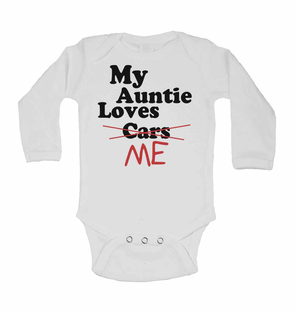 My Auntie Loves Me not Cars - Long Sleeve Baby Vests