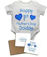 Happy First's Father's Day Daddy, with Personalised Gift Card, Gifts for New Dads - Baby Vests Bodysuits for Boys