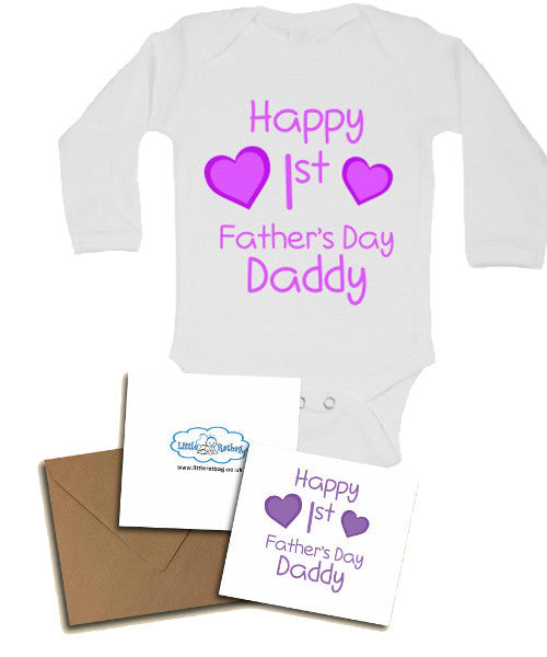 Happy First's Father's Day Daddy, with Personalised Gift Card, Gifts for New Dads - Long Sleeve Baby Vests for Girls