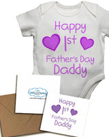 Happy First's Father's Day Daddy, with Personalised Gift Card, Gifts for New Dads - Baby Vests Bodysuits for Girls
