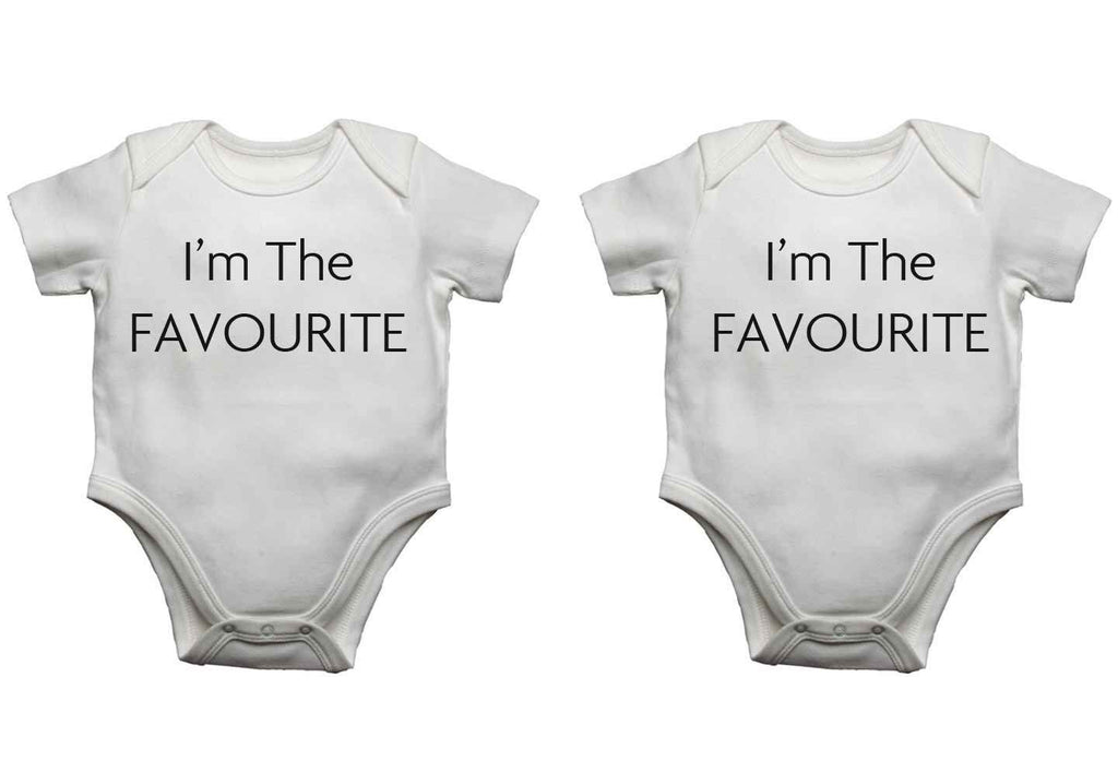 I'm The Favourite Twin Pack Baby Vests Bodysuits