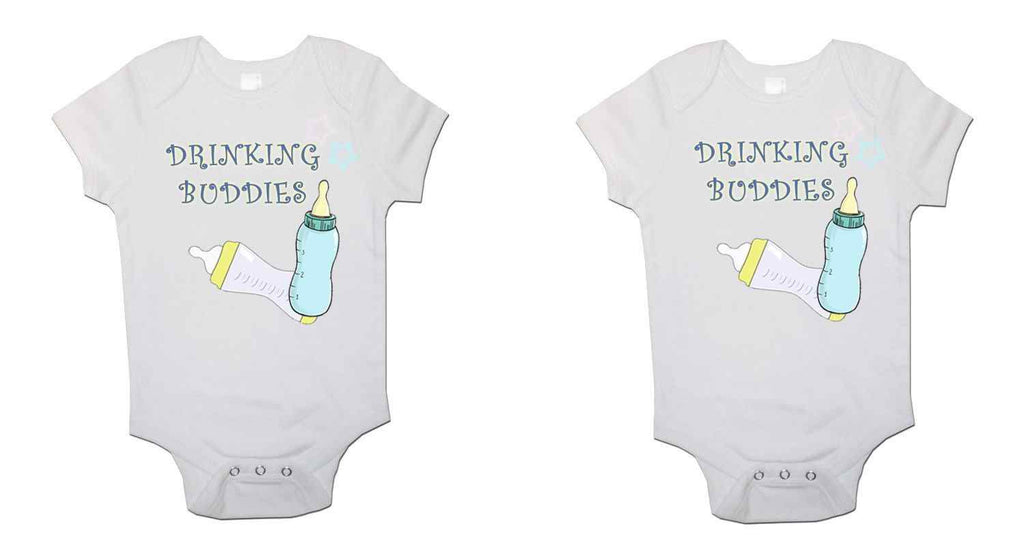 Drinking Buddies Twin Pack Baby Vests Bodysuits