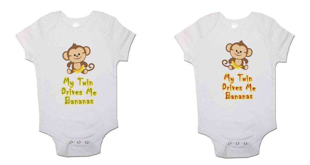 My Twin Drives Me Bananas Twin Pack Baby Vests Bodysuits