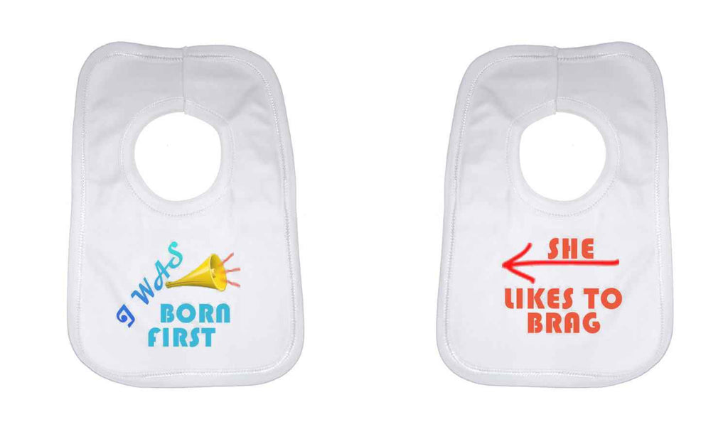 I Was Born First Twin Baby Bib