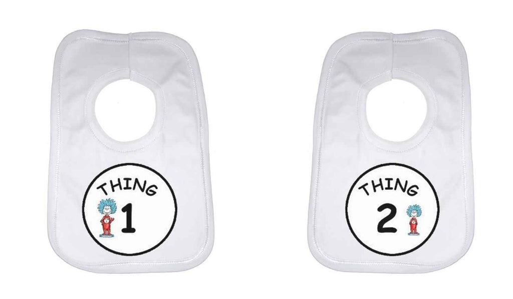 Thing 1 and Thing 2 Twin Baby Bib