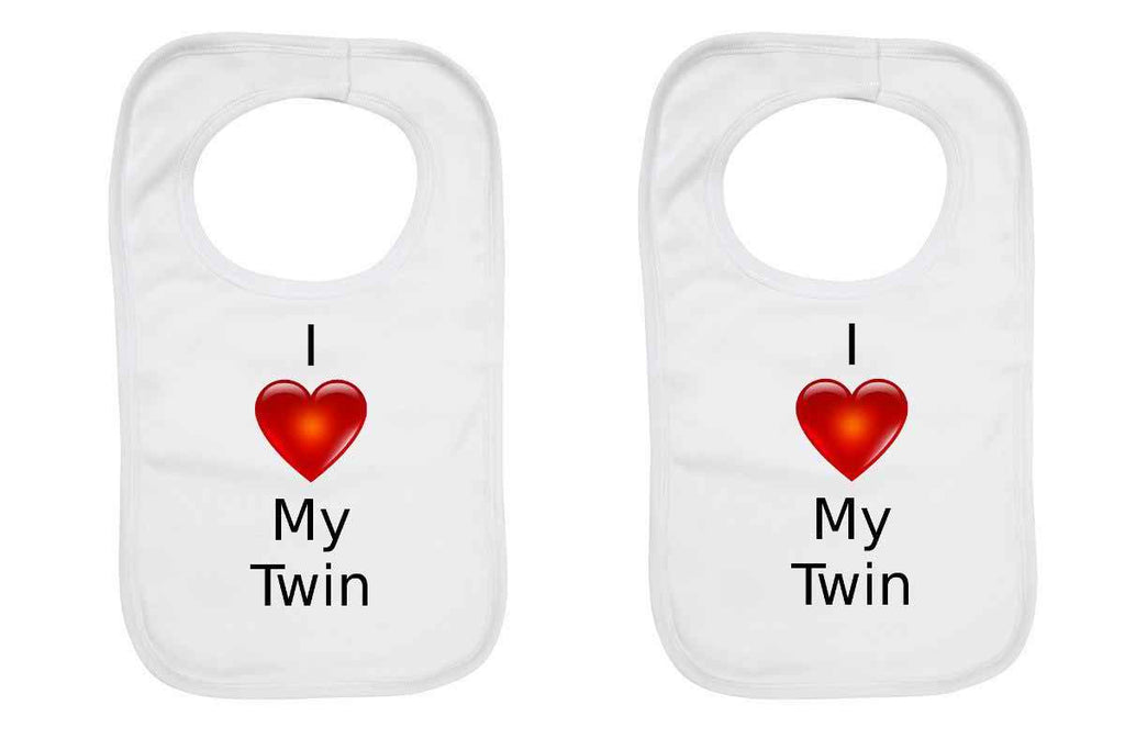 """I Love My Twin"" Twin Pack, Baby Bibs"