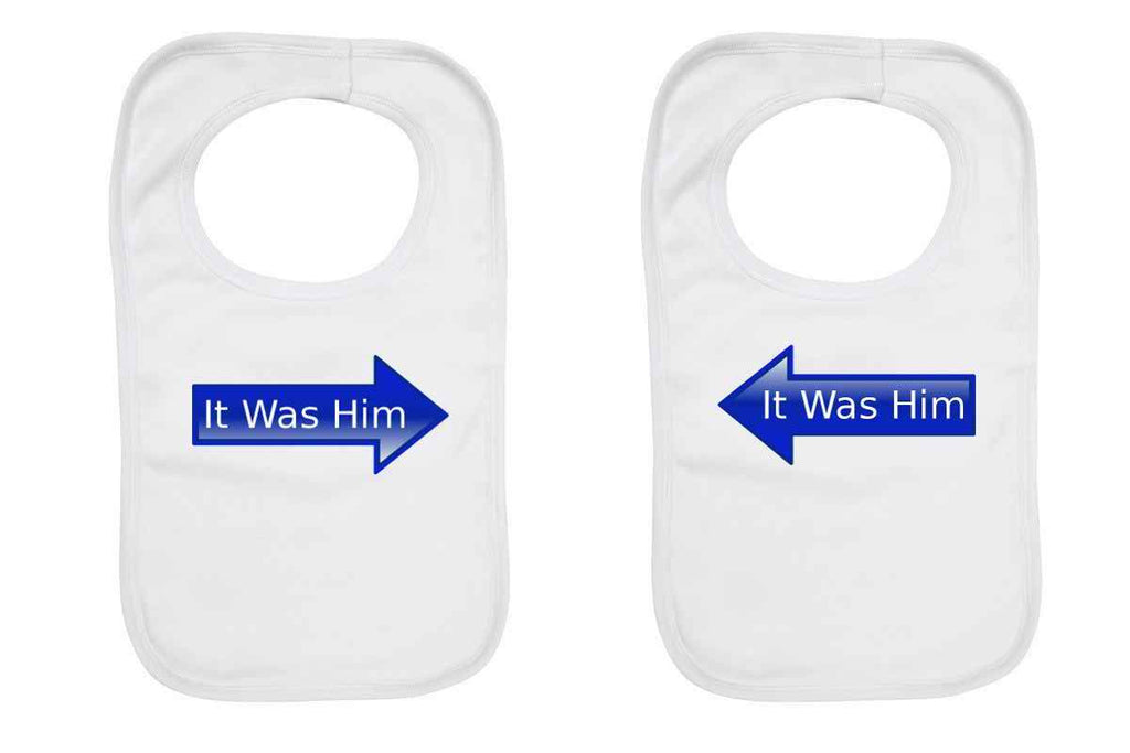 """It Was Him"" Twin pack, Twin Baby Bibs"