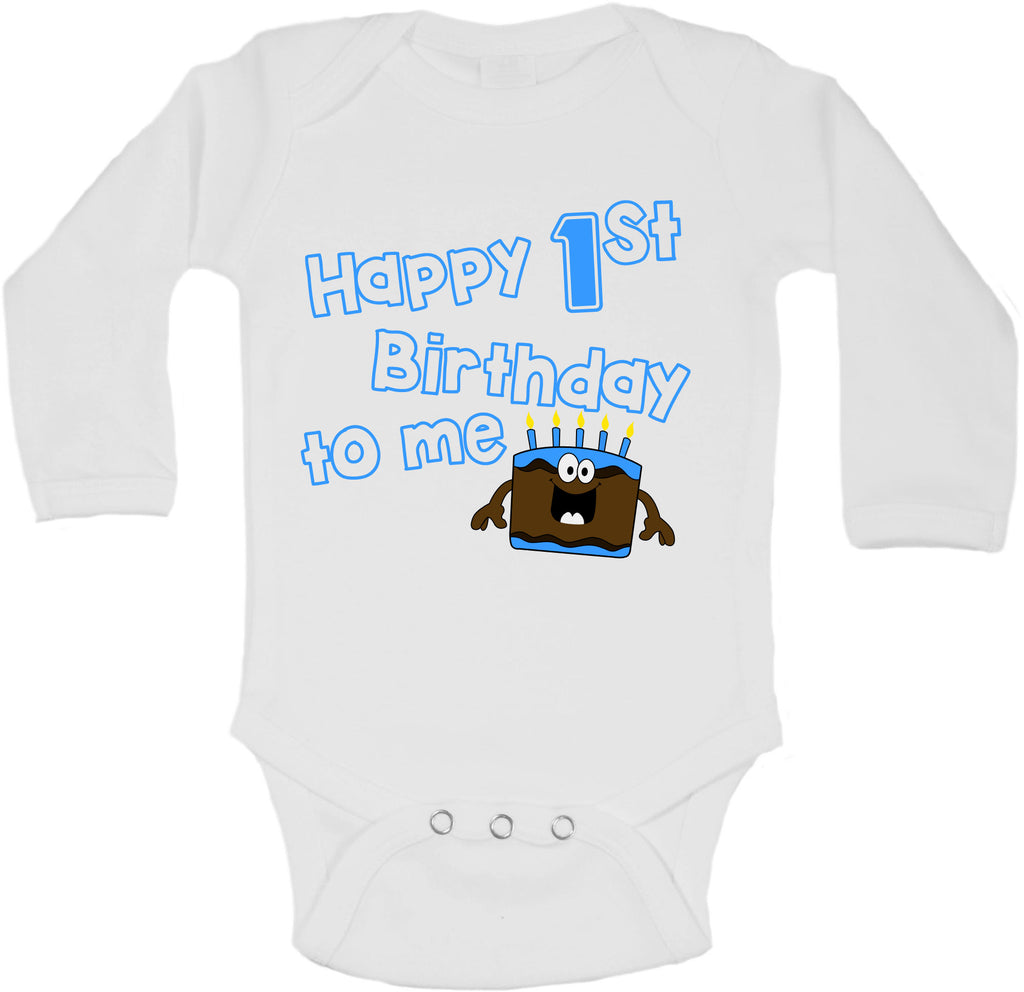 Happy First Birthday To Me - Long Sleeve Vests for Boys