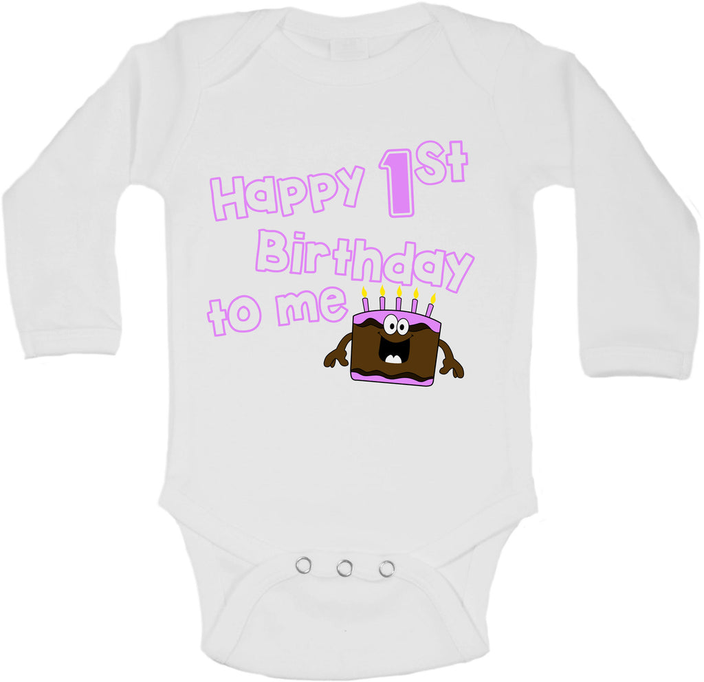 Happy First Birthday To Me - Long Sleeve Vests for Girls