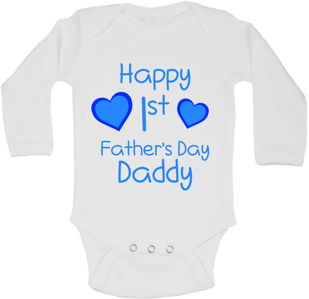 Happy First Fathers Day Daddy - Long Sleeve Vests for Boys