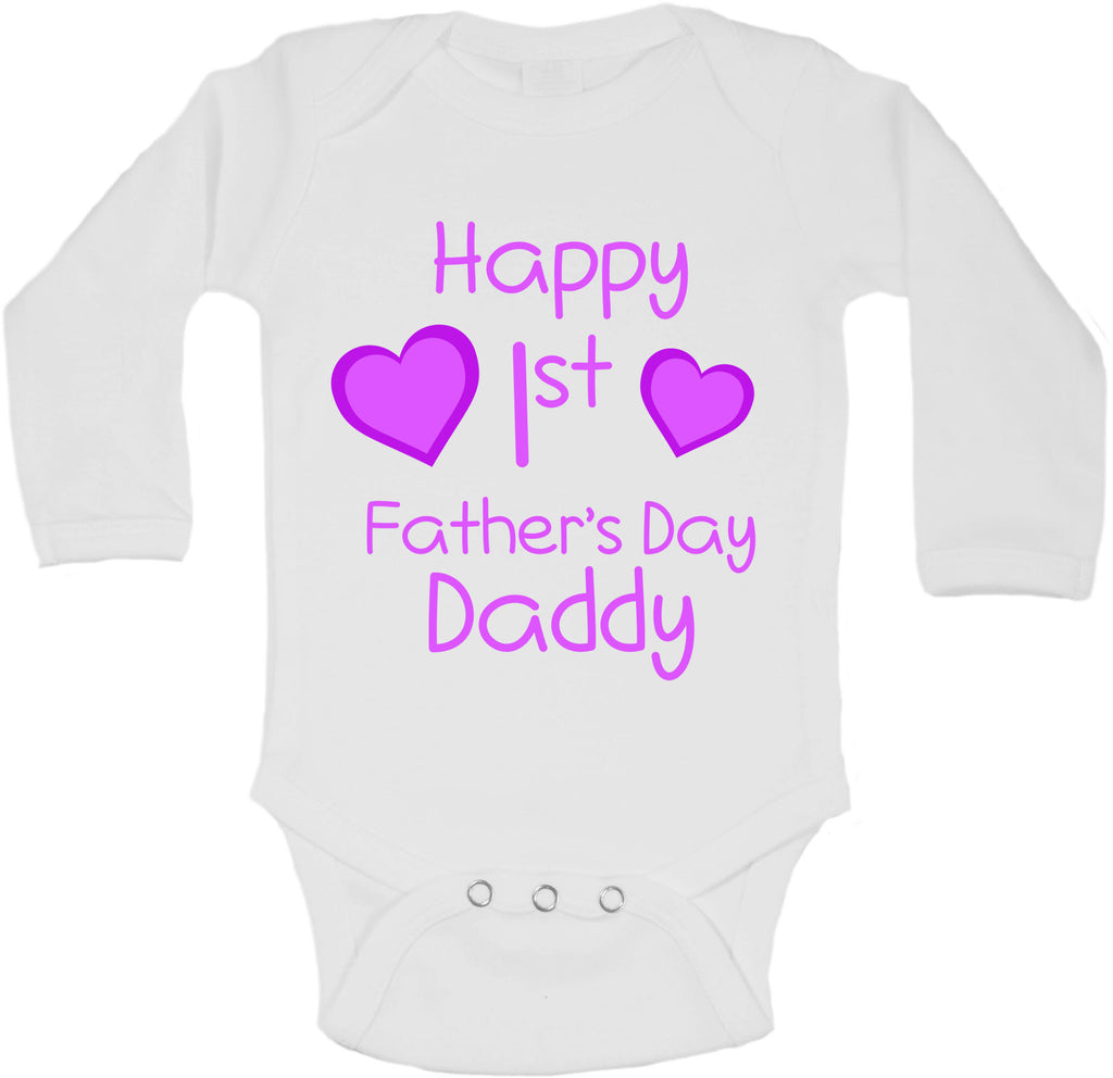 Happy First Fathers Day Daddy - Long Sleeve Vests for Girls