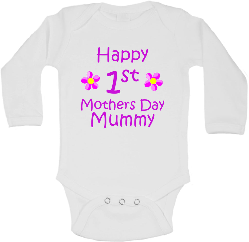 Happy First Mothers Day Mummy - Long Sleeve Vests for Girls