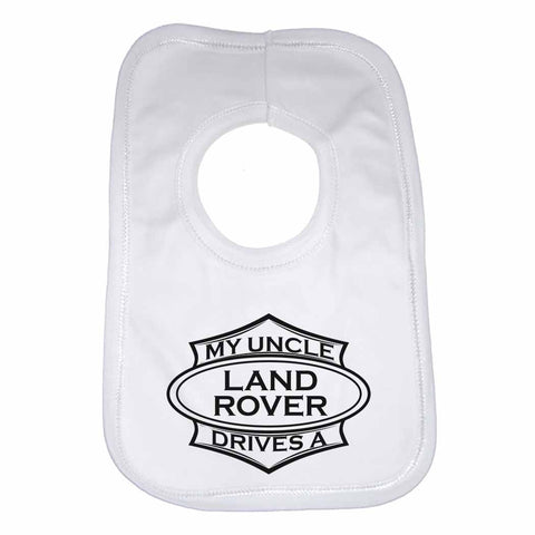 Baby Bib My Uncle Drives A Land Rover - Unisex - White