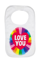 Soft Cotton Baby Bib Funny Rainbow Love You Gift Present for Boys & Girls Key Workers