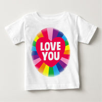 Soft Cotton Baby T-shirt Rainbow Love You Gift Present for Boys & Girls Key Workers