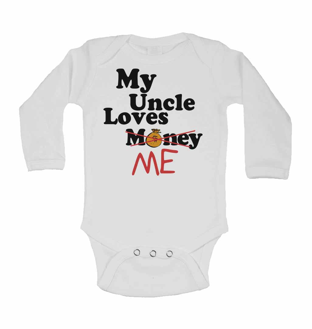 long sleeve I Love My Uncle baby bodysuit boys girls