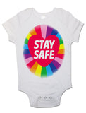 Soft Cotton Baby Vests Bodysuits Grow Rainbow Stay Safe for Newborn Gift Key Workers
