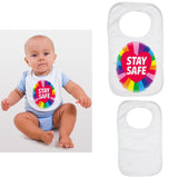 Soft Cotton Baby Bib Funny Rainbow Stay Safe Gift Present for Boys & Girls Key Workers