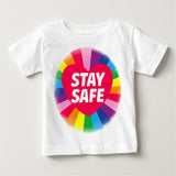 Soft Cotton Baby T-shirt Rainbow Stay Safe Gift Present for Boys & Girls Key workers