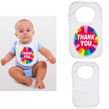 Soft Cotton Baby Bib Funny Rainbow Thank You Gift Present for Boys & Girls Key Workers