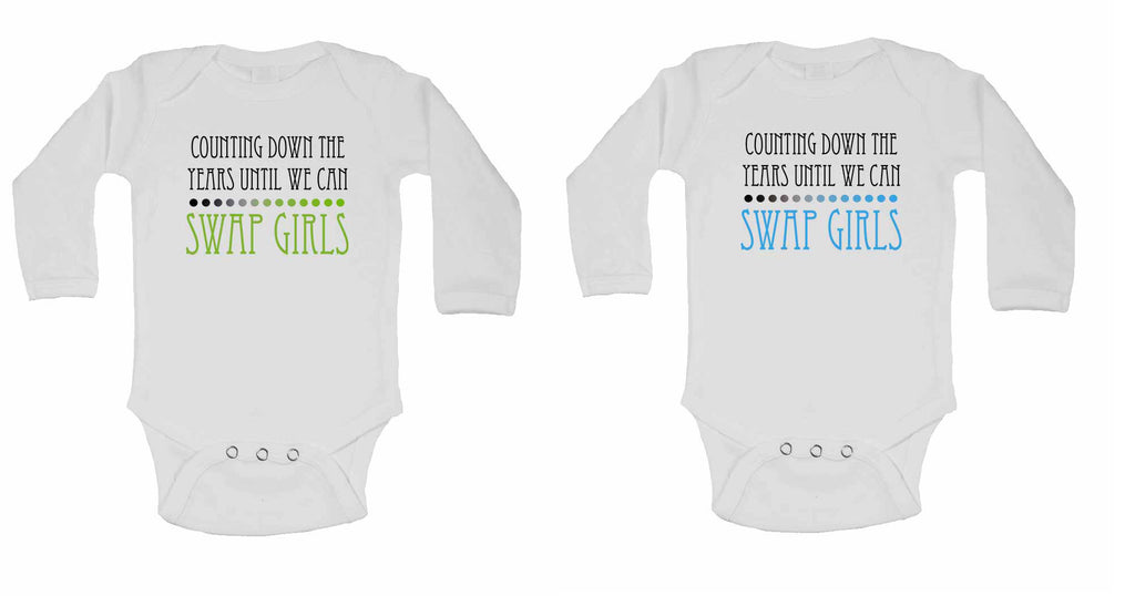 Counting Down The Years Until We Can Swap Girls - Twin - Long Sleeve Baby Vests