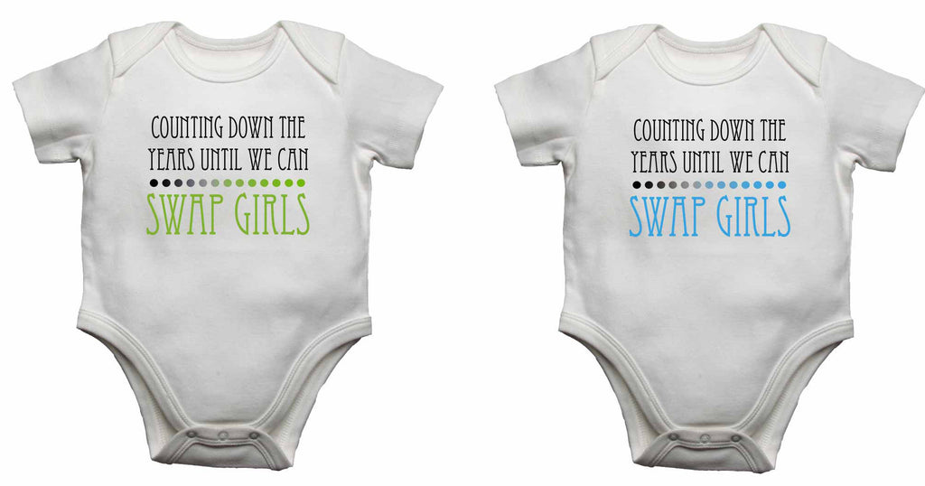 Counting Down The Years Until We Can Swap Girls - Twin - Baby Vests Bodysuits for Boys, Girls