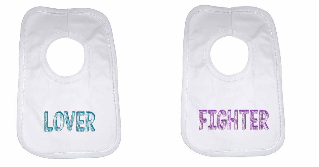 Lover Fighter Twin Baby Bibs